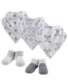Hudson Baby Bandana Bibs and Socks, 5-Piece Set, 0-9 Months