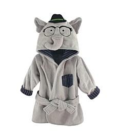 Hudson Baby Animal Face Hooded Bath Robe, 0-9 Months