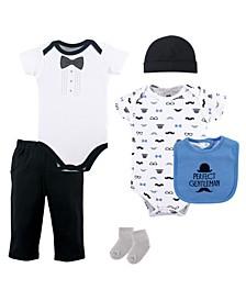 Bodysuits, Pants, Socks, Bibs and Cap, 6-Piece Set, 0-12 Months
