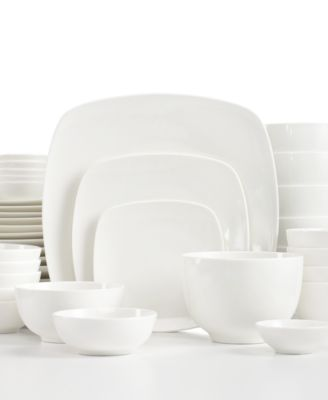 white elements hampton square 42piece set service for 6