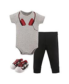 Little Treasure Bodysuits, Pants and Shoes, 3-Piece Set, 0-18 Months