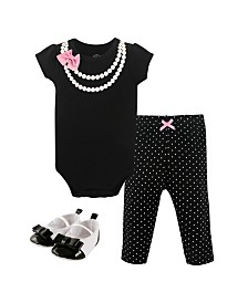 Little Treasure Bodysuits, Pants and Shoes, 3-Piece Set, 0-18 Months
