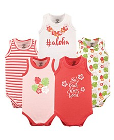 Baby Girl and Boy Crab Sleeveless Bodysuits, Pack of 5
