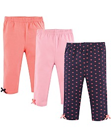 Hudson Baby Baby Leggings with Ankle Bows, 3-Pack, Hearts, 4T-5T
