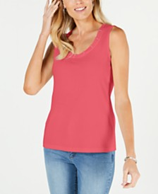 Karen Scott Petite Embellished-Neck Tank, Created for Macy's