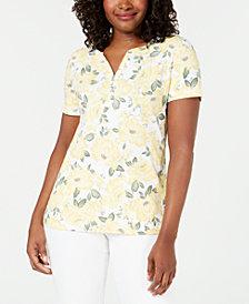 Karen Scott Printed Short-Sleeve Henley, Created for Macy's