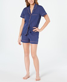 Charter Club Notch Collar Top and Pajama Shorts Sleep Separates, Created for Macy's