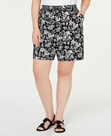 Karen Scott Plus Size Printed Drawstring Shorts, Created for Macy's