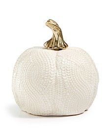 Martha Stewart Collection Harvest Small Ceramic White Pumpkin, Created for Macy's
