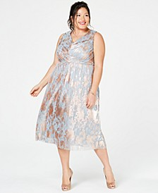 Plus Size Metallic A-Line Dress