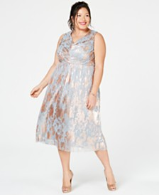 Adrianna Papell Plus Size Metallic A-Line Dress
