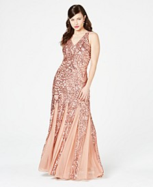 Sequined Mesh Gown