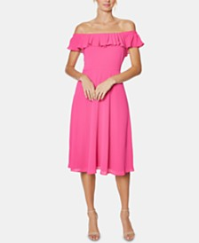 Betsey Johnson Off-The-Shoulder Midi Dress