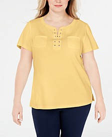 Plus Size Lace-Up Cotton Top, Created for Macy's