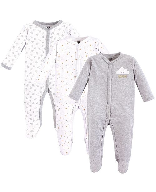 Hudson Baby Unisex Baby Coveralls/Union Suits and Sleep and Play, Gray Clouds Sleep N Play 3-Pack, 0-3 Months