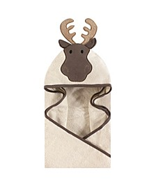 Unisex Baby Animal Face Hooded Towel, Modern Moose 1-Pack, One Size