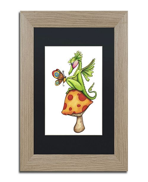 "Trademark Global Jennifer Nilsson Toadstool Sitter - Dragon Matted Framed Art - 11"" x 14"" x 0.5"""