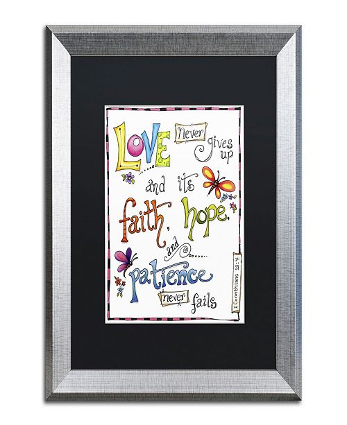 "Trademark Global Jennifer Nilsson Words of Love - Never Fails Matted Framed Art - 14"" x 19"" x 2"""