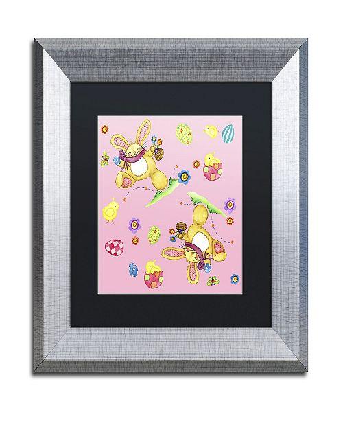 """Trademark Global Jennifer Nilsson Bunny Eggs Chicks Matted Framed Art - 16"""" x 16"""" x 0.5"""""""