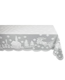 "Snow Village Lace Tablecloth, 52"" x 90"""