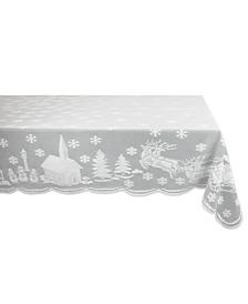 """Snow Village Lace Tablecloth, 52"""" x 90"""""""