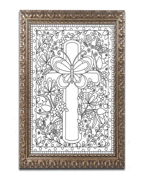 """Trademark Global Jennifer Nilsson Butterfly Garden Cross Ornate Framed Art - 11"""" x 14"""" x 0.5"""""""