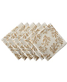 Metallic Holly Leaves Napkin, Set of 6