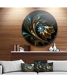 "Designart 'Brown Blue Fractal Flower In Black' Oversized Abstract Metal Art - 38"" x 38"""