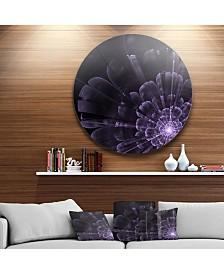 "Designart 'Glowing Crystal Purple Fractal Flower' Floral Metal Circle Wall Art - 23"" x 23"""