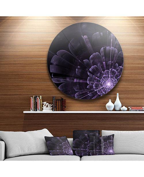 "Design Art Designart 'Glowing Crystal Purple Fractal Flower' Floral Metal Circle Wall Art - 23"" x 23"""