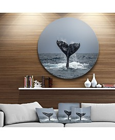 "Designart ''Large Humpback Whale Tail' Disc Oversized Animal Wall Art - 23"" x 23"""