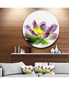 "Designart 'Lotus Flower Sketch Watercolor' Floral Metal Round Wall Decor - 23"" x 23"""
