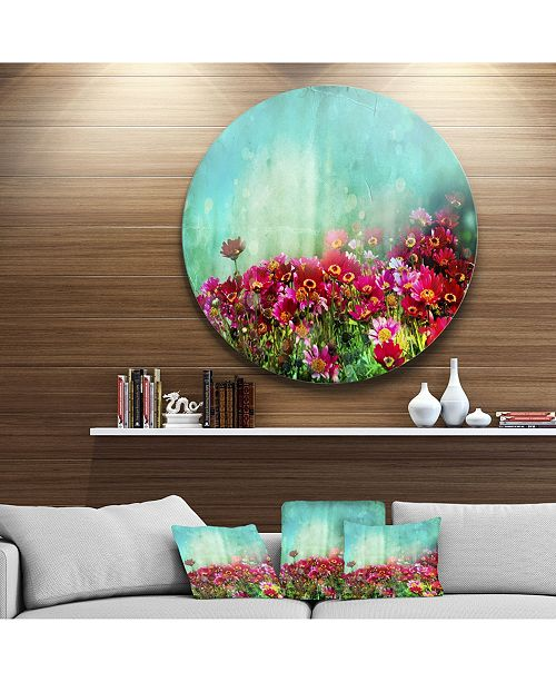 "Design Art Designart 'Little Red And Pink Flowers On Blue' Disc Floral Metal Circle Wall Art - 38"" x 38"""