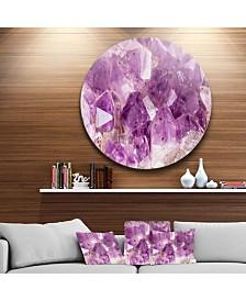 "Designart 'Purple Amethyst Macro' Disc Abstract Metal Circle Wall Art Print - 23"" x 23"""