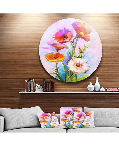 "Design Art Designart 'Bouquet Of Red White Flowers' Large Floral Metal Circle Wall Art - 38"" x 38"""