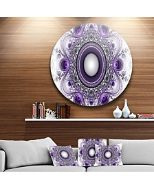 "Designart 'Purple Fractal Pattern With Circles' Abstract Round Circle Metal Wall Art - 23"" x 23"""