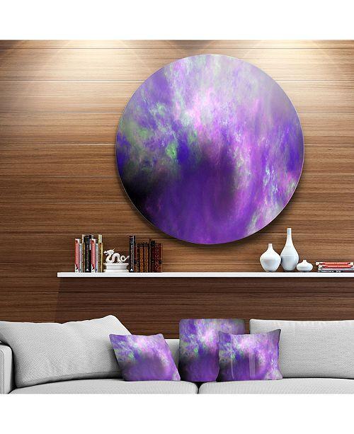 "Design Art Designart 'Perfect Light Purple Starry Sky' Abstract Round Circle Metal Wall Art - 23"" x 23"""