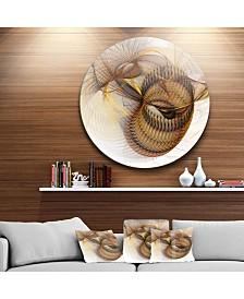 "Designart 'Abstract Brown Spiral Texture' Abstract Round Circle Metal Wall Decor Panel - 23"" x 23"""