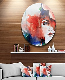 "Designart 'Woman With Rose Illustration' Abstract Metal Artwork - 23"" x 23"""