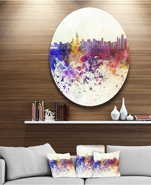 "Design Art Designart 'Chicago Skyline' Disc Cityscape Circle Metal Wall Art - 23"" x 23"""