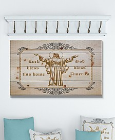 """Design Art 'Lord Bless this house. Lord Bless America' Wood Wall Art - 40"""" x 20"""""""