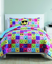 Facey Emoji 4-Piece Comforter Set - Full/Queen