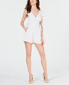 GUESS Trixie Striped Shirred Romper