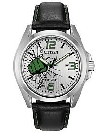 Marvel by Citizen Eco-Drive Men's Hulk Black Strap Watch 45mm