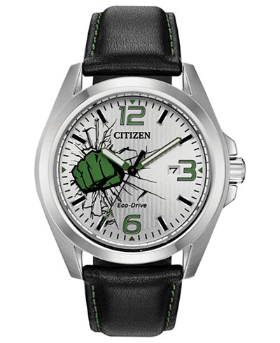 Marvel by Citizen Eco-Drive Men's Hulk Black Strap Watch 45mm