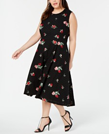 Calvin Klein Plus Size Floral-Eyelet A-Line Dress