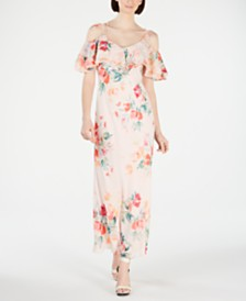 Calvin Klein Floral Printed Cold-Shoulder Maxi Dress