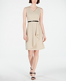 Petite Belted Cutaway Ruffle Dress