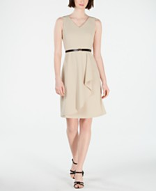 Calvin Klein Belted Cutaway Ruffle Dress