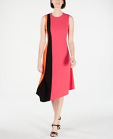 Calvin Klein Sleeveless Colorblock Asymmetric A-Line Dress
